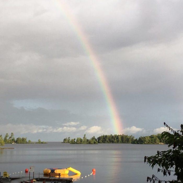 Beautiful rainbow over Callander Bay